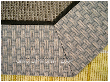 Custom Designed Area Rug with Fabric Border and Sisal Field